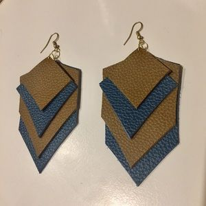 Brown and Teal Leather Statement Earrings